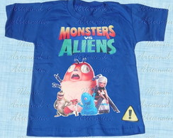 Camiseta Divertida Monstros vs Aliens