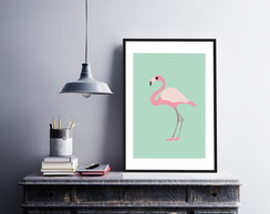 Plaquinha Placa Quadro MDF Kit 30x40cm Flamingo Floral