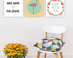 Plaquinha Placa Quadro MDF Kit 30x30cm Flamingo Mais Amor