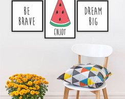 Plaquinha Placa Quadro MDF Kit Melancia Be Brave Dream Big