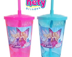 10 copo shake Barbie Butterfly e Princesa Fairy 700ml canudo