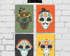 Kit 4 Placa Decorativa MDF Caveira Mexicana 30x40cm