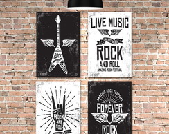 Kit 4 Placas Decorativas MDF Rock and Roll 30x40