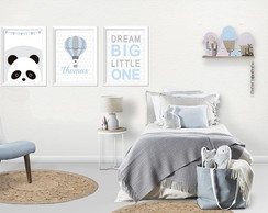Poster infantil panda, balão e dream big