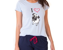 PIJAMA SHORT DOLL FEMININO ADULTO - I LOVE PUG
