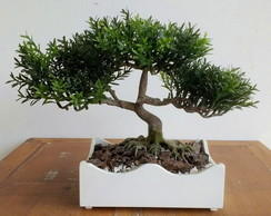 Bonsai Artificial no Vaso Branco