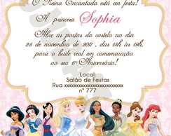 Arte Digital Convite Princesas Disney