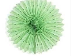 Leque de Papel Decorada - Verde Menta 40cm