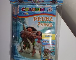 Kit Colorir Revistinha Moana + giz de cera