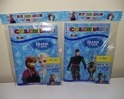 Kit Colorir Revistinha Frozen Olaf +giz cera