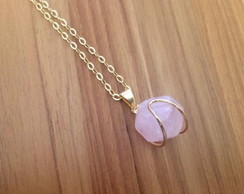 Colar Earth Stones - quartzo rosa