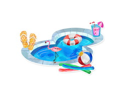Recorte em Papel Pool Party 3,5 cm