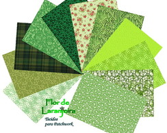 Kit Tecidos Tom Verde Patchwork 25x35cm