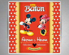 Rótulo Chocolate Baton - Mickey e Minnie