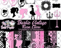 KIT DIGITAL Barbie Vintage Rosa Claro