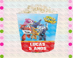Rotulo Balde de Pipoca Super Wings