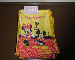 Mochilinha 22x26 minnie e mickey mouse