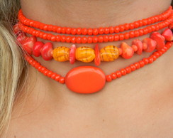 Mix Chokers Coral - M040
