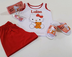 Pijama Hello Kitty com chinelo