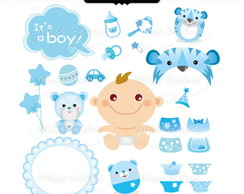 Kit Digital Scrapbook Baby Menino 1