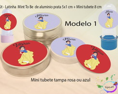 Kit Latinhas e Mini Tubetes -Branca de Neve