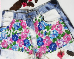 Short Jeans Estampa Flores