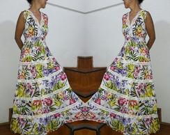 vestido longo estampa tropical renda