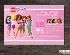 Convite Digital Lego Friends ~ 15x10