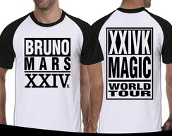 Camiseta Raglan Bruno Mars 24k Magic Tour Brazil