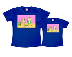 Kit 2 Camisetas Azul Royal Charlie e Lola
