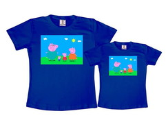Kit 2 Camisetas Azul Royal Peppa Pig