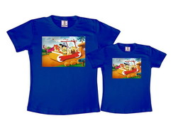 Kit 2 Camisetas Azul Royal Os Flintstones
