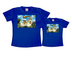 Kit 2 Camisetas Azul Royal Madagascar