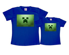Kit 2 Camisetas Azul Royal Minecraft