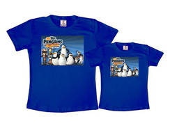 Kit 2 Camisetas Azul Royal Pinguins de Madagascar