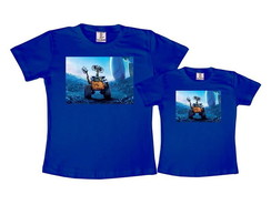 Kit 2 Camisetas Azul Royal Wall-e