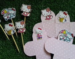 kit 100 forminhas + 100 pins hello kitty