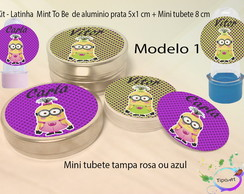 Kit Latinhas e Mini Tubetes -Minions