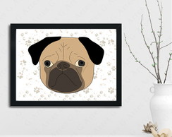 Quadro I love my dog cachorro pug cute cód: 216s