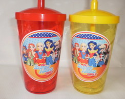 Copo Shake com Canudo de 500ml Super Hero Girls Heroínas 01