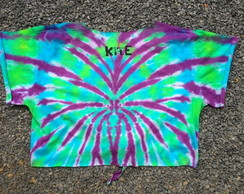 Camiseta Cropped Customizada - Tie Dye Caveira
