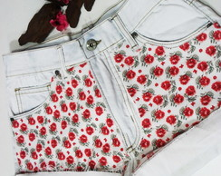 Short Jeans Customizado Estampa Florida