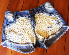 Short Jeans Customizado Super Tachas & Spikes