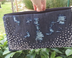 Clutch jeans destroyed com strass