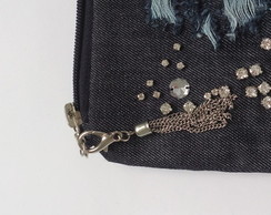Mini clutch jeans destroyed com strass!