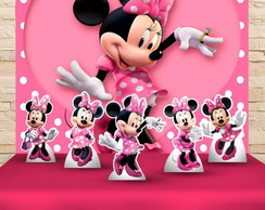 Kit Festa Prata Painel + Display Minnie Rosa