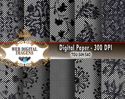 Papel Digital Fishnet Laces Renda - 10 Papeis Digitais