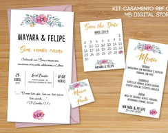 Kit Convite, menu e save the date Casamento - Arte Digital