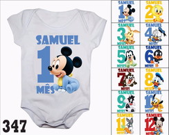 Body Mesversario Mickey Baby Personagens Kit 12 Bodies Bebê