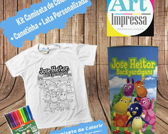 Kit Camiseta de Colorir + Lata Backyardigans